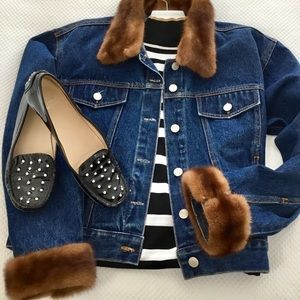 Jackets & Blazers - Jean jacket with removable mink fur collar & cuffs